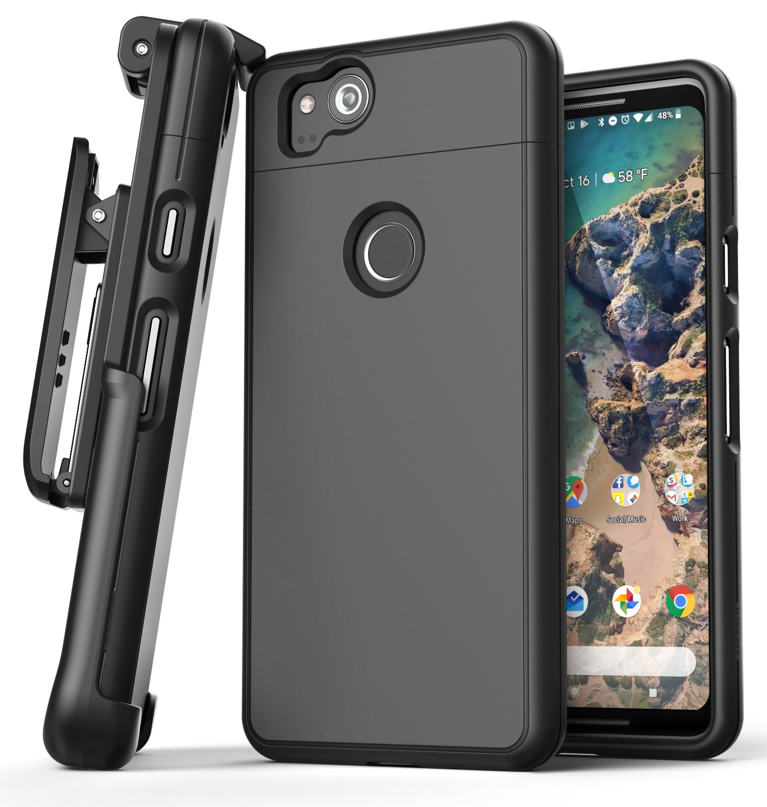 new product 1eec5 fb3e3 Google Pixel 2 XL Slimshield Case And Holster Black