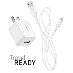 Lighting Charger with Wall Plug 10W 5ft Cable White