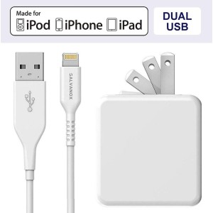 Lightning to USB Charging Cable Plus Dual USB-Port Wall Plug 17W 5ft Cable White
