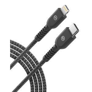 Lightning to USB C Braided Cable 5 Ft Black