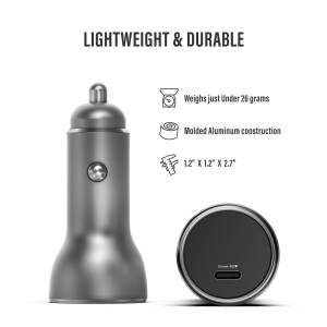 18W PD Aluminum Car Charger Silver