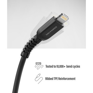 Lightning to USB C TPU Cable 5 Ft Black