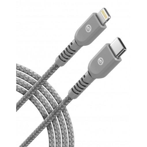 Lightning to USB C Braided Cable 6 Ft Gray
