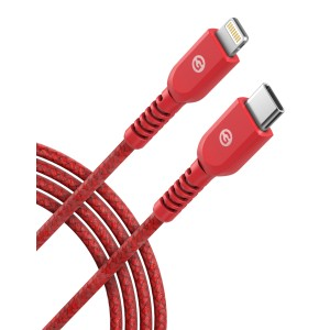 Lightning to USB C Braided Cable 1FT Red