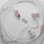 USB Type C Earphones 4Ft Cord In Ear Wired Mic Volume Control Remote Rose gold