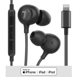 Earphones With Lightning Connector 4Ft Cord In Ear Wired Mic Volume Control Remote Black