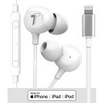 Earphones With Lightning Connector 4Ft Cord In Ear Wired Mic Volume Control Remote White