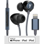 Braided iPhone Lightning Earbuds (Sweat/Water Resistant) with Mic and Volume Remote Blue