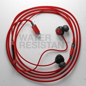 Braided iPhone Lightning Earbuds (Sweat/Water Resistant) with Mic/Volume Remote Red