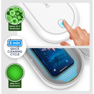 Steliron Phone UV Sanitizer with Wireless Charging, Cellphone Cleaner and Kill Bacteria, Germs and Viruses with USB Charger for iPhone and Android