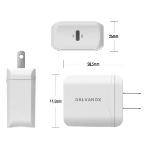 Galvanox 18W Single Port PD Wall Charger with 5ft MFi Lightning to USB-C Cable (White)