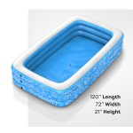 """Inflatable Pool, Above Ground Swimming Pool (120"""" X 72"""" X 22"""") Light Blue"""