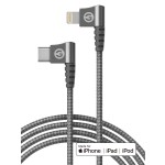 Lightning to USB C Braided Right Angle Cable 3 Ft Gray