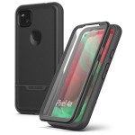 Pixel 4a Case with Screen Protector and Holster (Rebel Shield) Black