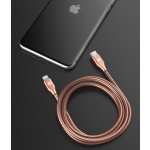 Lightning to USB C Metal Stainless Steel Cable 4 Ft Rose Gold