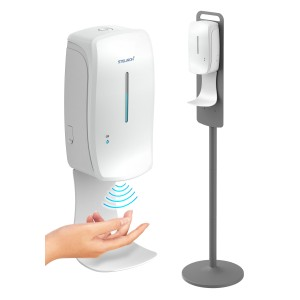 Steliron Automatic Hand Sanitizer Dispenser with Stand, 34oz Adjustable Floor Station with Touchless Dispenser for Sanitizing Gel