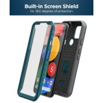 Pixel 5 5G Case with Screen Protector and Holster (Rebel Shield) Blue