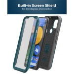Pixel 4a 5G Case with Screen Protector and Holster (Rebel Shield) Blue