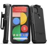 Pixel 5 5G  Case with Screen Protector and Holster (Rebel Shield) Black
