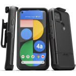 Pixel 4a 5G  Case with Screen Protector and Holster (Rebel Shield) Black