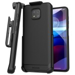 Moto G Power 2021 Thin Armor Case and Holster Black
